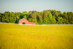 White fence leading up to a big red barn Royalty Free Stock Photography