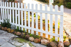 White fence in perspective Royalty Free Stock Photo