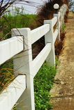 White fence with road Stock Image