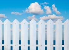 White fence on sea beach Stock Photo