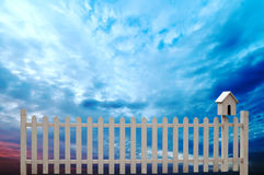 White fence under the sky Stock Photos