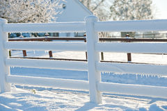 White fense with snow Royalty Free Stock Photos