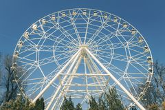 White ferris wheel against a blue sky. Royalty Free Stock Photo