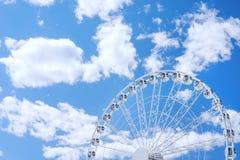 White ferris wheel against the sky Stock Photos