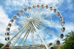 White ferris wheel in the Cape Town Waterfront Royalty Free Stock Photos