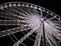 White Ferris Wheel over dark night sky Royalty Free Stock Photo
