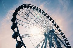 White Ferris Wheel Under Cloudy Sky stock photos