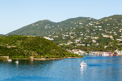 White Ferry Around Green Point in Blue Harbor Royalty Free Stock Photos