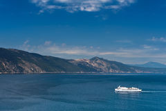 White ferry boat in Adriatic sea. Near Croatian coast under blue sky Stock Images
