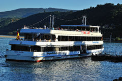 White ferry on the Mosel river Royalty Free Stock Photo