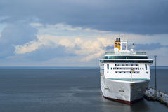 White ferryboat in sea port Stock Photography
