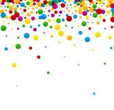 Festive background with colorful confetti. White festive background with bright colorful confetti. Vector paper illustration Royalty Free Stock Photography