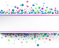 White festive background with colorful confetti. White festive background with glossy spectrum colorful oval confetti. Vector paper illustration.r Stock Photos
