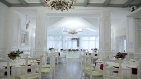 White festive banquete hall overview stock video