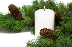 White festive candle Stock Photography