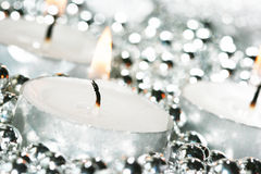 White festive candles Royalty Free Stock Photo