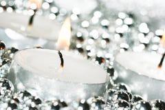 White festive candles royalty free stock photo