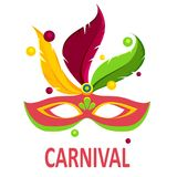 White carnival background with colour mask. White festive carnival background with bright colour mask. Vector illustration Royalty Free Stock Images