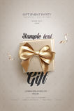 White Festive flyer or poster. Top view on gift box and bow with beautiful backdrop Royalty Free Stock Photography