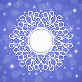 Festive template, snowflake, frame for New Year and Christmas. White festive frame, mandala, snowflake on a blue background with stars. Template for New Year`s Stock Photo