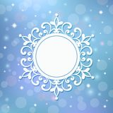 Festive template, snowflake, frame for New Year and Christmas. White festive frame, mandala, snowflake on a blue background with stars.Template for New Year`s Royalty Free Stock Photography