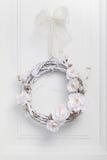 White festive twig wreath Stock Photos