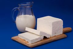 White feta cheese and milk. Bulgarian white feta cheese and milk stock photo