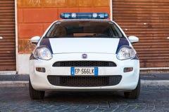White Fiat Fiat Grande Punto police car parked Stock Image