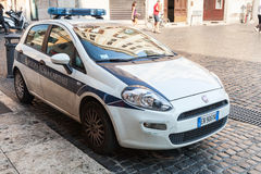 White Fiat Punto police car in Rome Royalty Free Stock Image