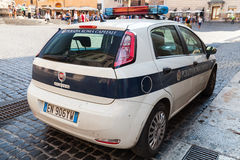 White Fiat Punto police car stands parked Stock Photo