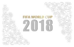 White 2018 fifa world cup football background. White 2018 fifa world cup football background with floral ornament. Vector illustration Stock Photos