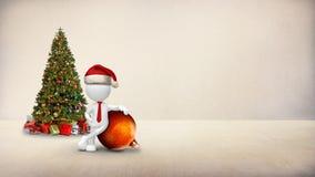 White Figure Christmas Ornament in Room 4K Loop