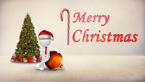 White figure Christmas ornament with text 4k loop