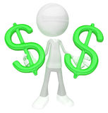 White Figure, Finance. White symbolic figure standing with green dollar symbols, 3d illustration, horizontal, isolated Stock Images