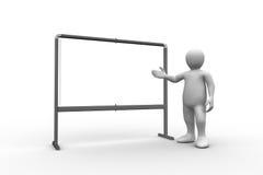White figure pointing to whiteboard Royalty Free Stock Photos