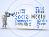 White figure revealing social media terms with a megaphone Royalty Free Stock Images