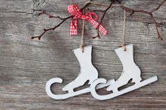 White   figure skates decoration Stock Photography