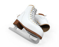 White Figure Skates Isolated. On white background. 3D render Royalty Free Stock Photos