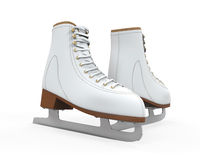 White Figure Skates Isolated. On white background. 3D render Royalty Free Stock Photo