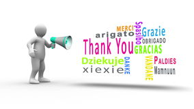 White figure yelling into a megaphone to reveal thank you in different languages stock footage