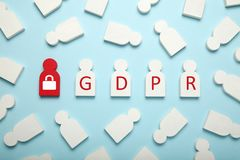 White figures of people and the inscription GDPR. General Data Protection Regulation stock image
