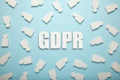 White figures of people and the inscription GDPR. General Data Protection Regulation stock images