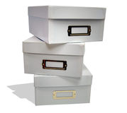 White File Boxes. Stack of three white file boxes stock photo