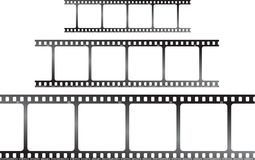 White film triple h. A set of three films laid horizontal to be used as placeholders or a background Stock Photo