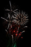 White finale fireworks. Finale fireworks, with white flares over black Royalty Free Stock Images