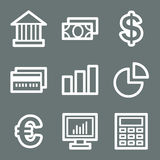 White finance web icons set 1. Vector web icons, white contour series Royalty Free Stock Images