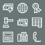 White finance web icons set 2. Vector web icons, white contour series Stock Image