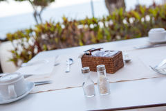 White Fine Table Setting for breakfast. In hotel. summer Royalty Free Stock Photo