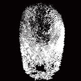 White fingerprint shape on black background. For secure identification. Vector illustration Stock Photo