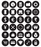 White Fintech Flat Icons In Front Of Black Circles On White Back. Vector Easy-To-Use 30 White Fintech Flat Icons Including Multiple Currencies On White Royalty Free Stock Photography